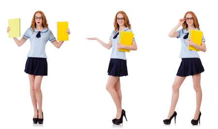 Jonge ijverige student met handboeken die op wit wordt geïsoleerd