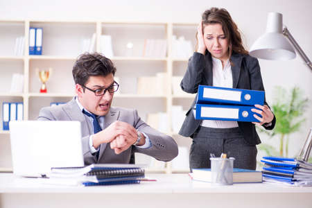 Angry boss unhappy with female employee performance