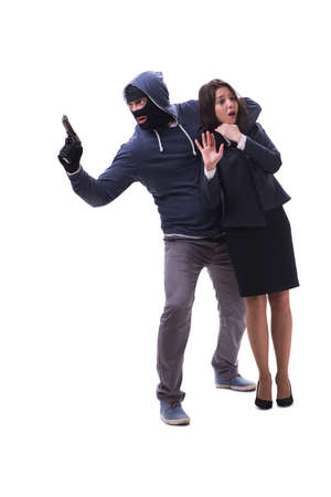 Businesswoman is kidnapped by the gunman Stock Photo