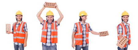 Young bricklayer with brick isolated on white Reklamní fotografie - 94881001