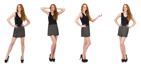 Red hair girl in gray dress isolated on white Stock Photo