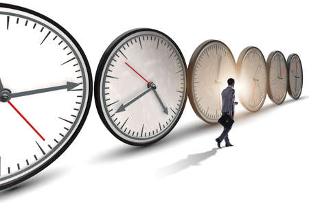 Businessman in time management concept 스톡 콘텐츠