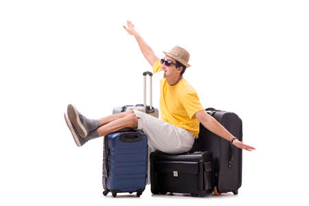 Happy young man going on summer vacation isolated on white Stockfoto