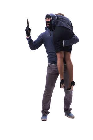 Businesswoman is kidnapped by the gunman Foto de archivo