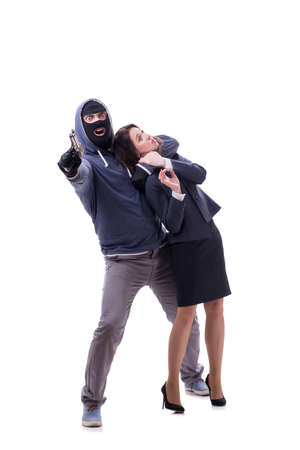Businesswoman is kidnapped by the gunman 写真素材