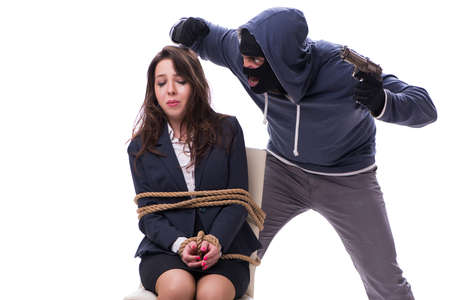 Kidnapper with tied woman isolated on white background