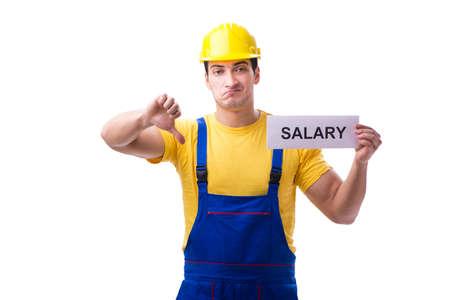 Réparateur demandant une augmentation de salaire isolated on white
