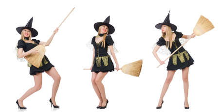 Witch isolated on the white background Imagens
