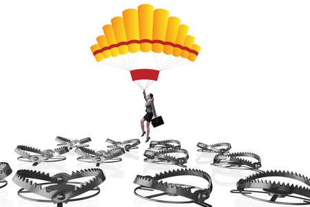 Businesswoman falling into trap on parachute Foto de archivo