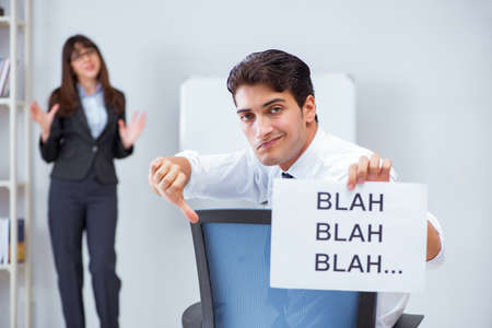 Employee bored at the business presentation