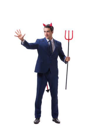 Evil devil businessman with pitchfork isolated on white background
