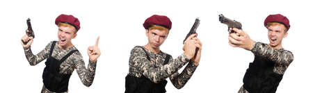 Funny soldier in military concept isolated on the white Stock Photo