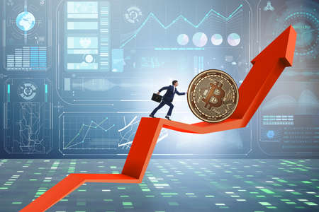 Businessman pushing bitcoin in cryptocurrency blockchain concept Stockfoto
