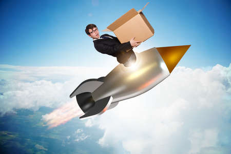 Businessman in fast delivery service Stockfoto