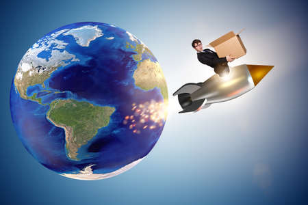 Businessman in global worldwide delivery service Stock Photo