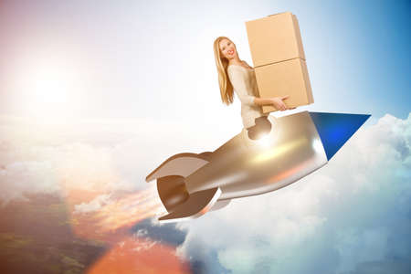 Woman in fast box delivery service on rocket