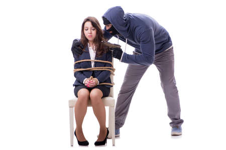 Kidnapper with tied woman isolated on white Stock Photo