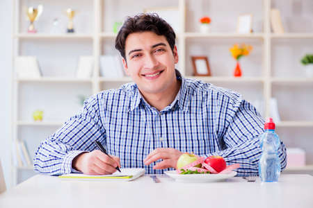 Man on special diet program to lose weight Stock Photo