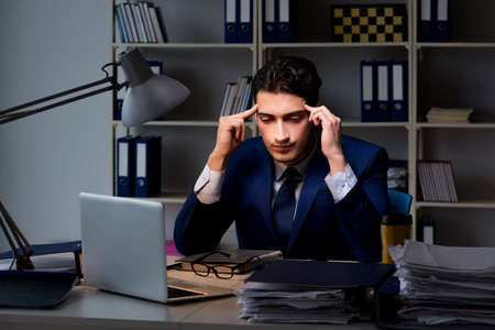 Employee working late to finish important deliverable task