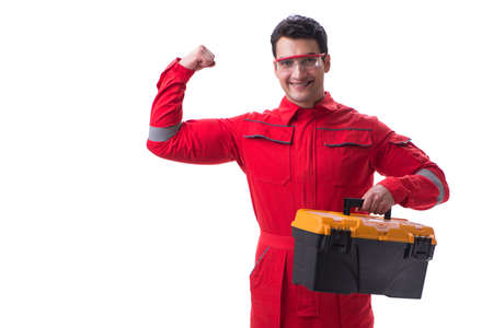 Contractor worker in red coveralls with toolbox isolated on white