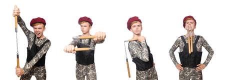 Soldat drôle dans le concept militaire isolé sur le blanc Banque d'images - 97029676