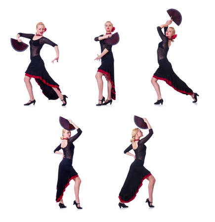 Woman dancing spanish dance isolated on white