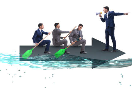 Teamwork concept with businessmen on boat Stock Photo