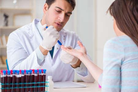 Patient during blood test sampling procedure taken for analysis