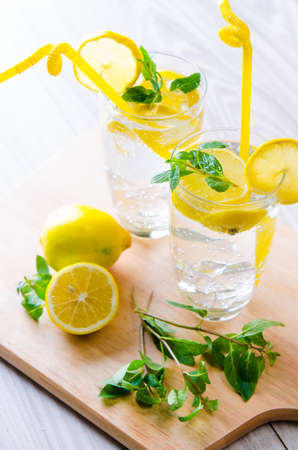 Glasss of mojito with lemon and drinking straw Stock Photo