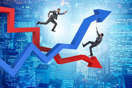 Business concept of both crisis and recovery Фото со стока
