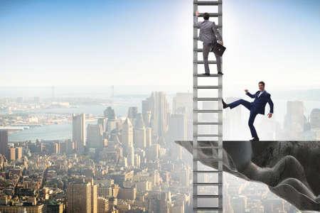Concepto de competencia poco ética empresarial con empresarios