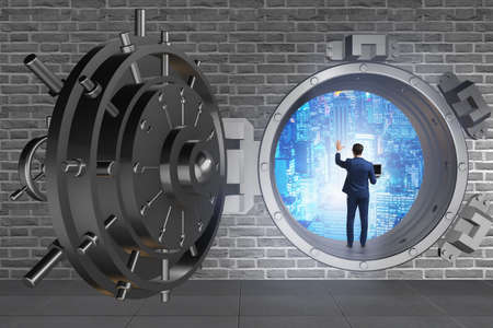 Businessman in digital protection against cyber threats