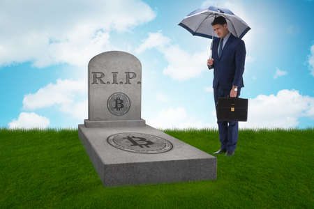 Businessman mourning the demise and death of bitcoin Stockfoto