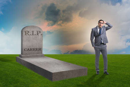Businessman employee mourning his unsuccessul career Stock Photo
