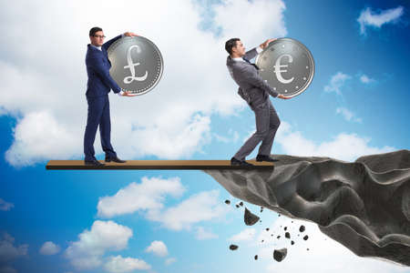 Interdependency concept with two currencies Stock Photo
