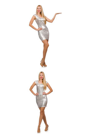 Young woman in silver dress isolated on white