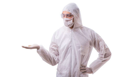 Man in protective suit isolated on white background Banque d'images - 98665865