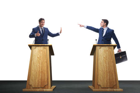 Two businessmen having heated discussion at panel discussion Фото со стока - 98665974