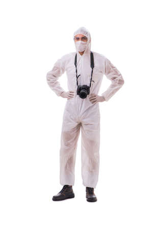 Forensic specialist in protective suit taking photos on white Banque d'images
