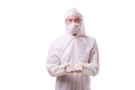 Man in protective suit isolated on white background Foto de archivo