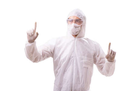 Man in protective suit isolated on white background Banque d'images