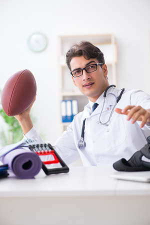 Doctor going to sports during lunch break Stockfoto