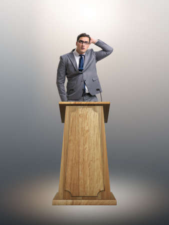 Businessman making a speech in business concept Stock Photo