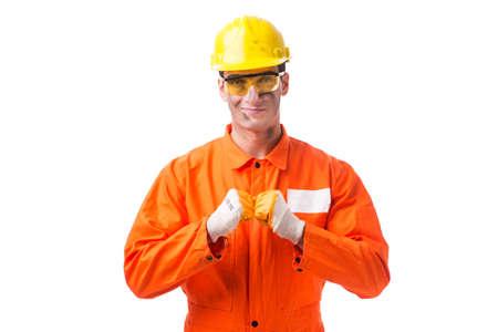 Aannemer werknemer dragen overall geïsoleerd op wit