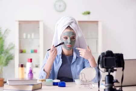 Beauty blogger recording video for vlog Banco de Imagens