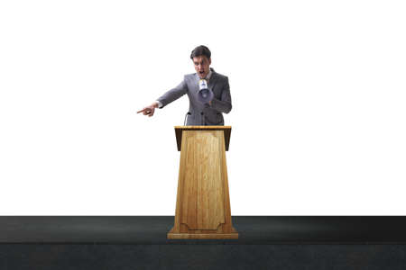 Man businessman making speech at rostrum in business concept Foto de archivo - 100392440