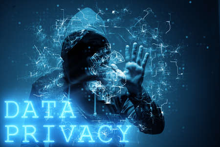 Data privacy concept with hacker stealing personal information Banque d'images
