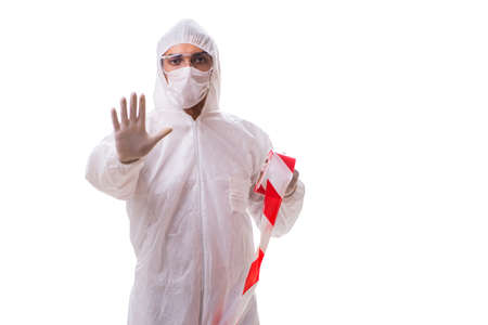 Forensic specialist in protective suit isolated on white Banque d'images - 100425528