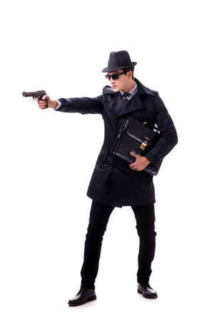 Man spy with handgun isolated on white background