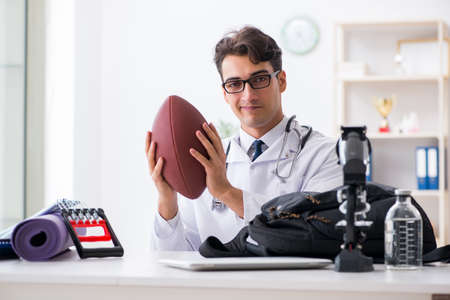 Doctor going to sports during lunch break Stock Photo